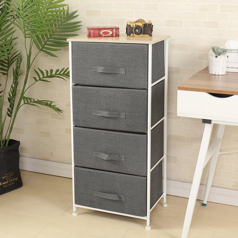 SDHYL Fabric Storage Organizer Unit with 4 Drawers Fabric Bin Storage Unit  for Bedroom Storage Shelf, Grey, S4-WK-4N-GY-CA