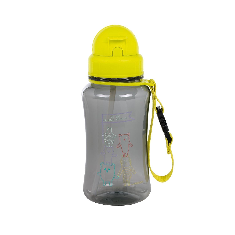 L/ÄSSIG Kinder Trinkflasche mit Strohhalm Auslaufsicher Kunststoff Tritan//Drinking Bottle About Friends blau