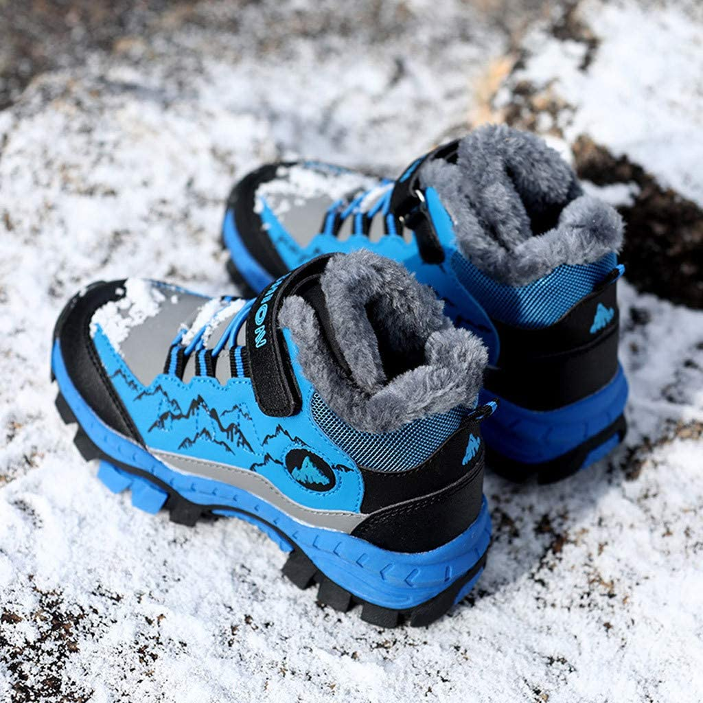 Boys Girls Child Plus Cotton Outdoor Sports Shoes Teen Warm Casual Non-Slip Hiking Shoes for 8-12 Years Old