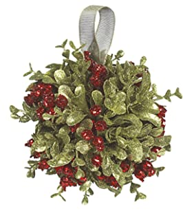 ganz 5 inch mistletoe kissing ball ornamentred5 - Mistletoe Christmas Decoration