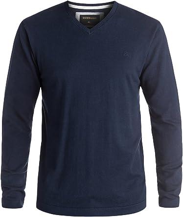 QUIKSILVER Men/'s Grey Kelvin Casual Knit Long Sleeve Pullover V-Neck Sweater