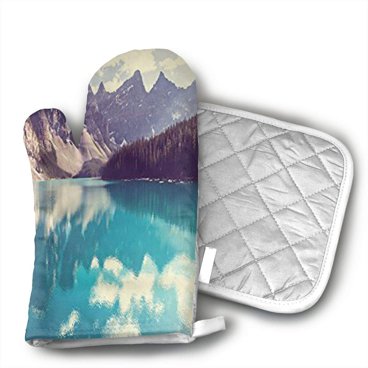 Moraine Lake in Banff National Park Oven Mitts,Heat Resistant to 502 F£¬Non Slip Kitchen Oven Gloves for Cooking,Baking,Grilling,Barbecue Potholders
