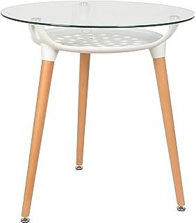 ts ideen design glastisch esstisch rund beistelltisch 8 mm esg glas dreibein holz buche - Kuchentisch Rund 80 Cm