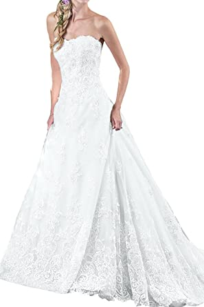Charm Bridal Princess Prom Dresses Lace Strapless Wedding Dresses -26W-White