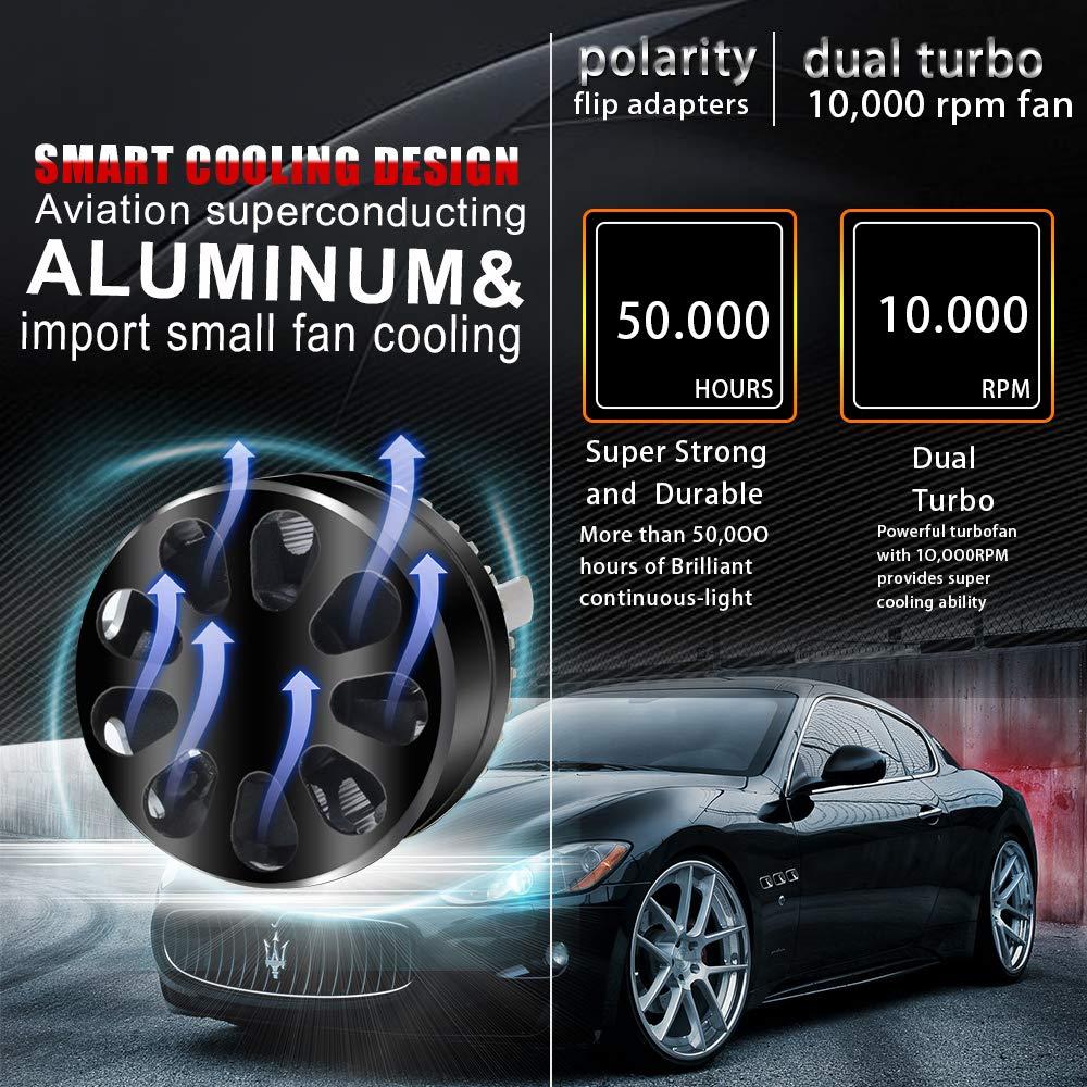 Amazon.com: TURBO SII Super Bright 2PCS LED Headlight Bulbs Conversion Kits 9003/H4/HB2 Vision - Waterproof 12000lm 6500K Cool White- 1 Yr Warranty: ...