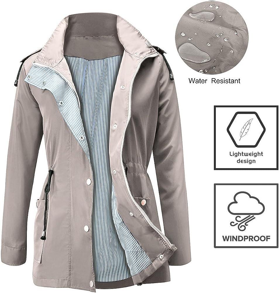 FISOUL Raincoats Waterproof Lightweight Rain Jacket Active Outdoor Hooded Womens Trench Coats