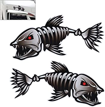 4x Skeleton Fish Bones Vinyl Decal Sticker Kayak Fishing Boat Car Graphics