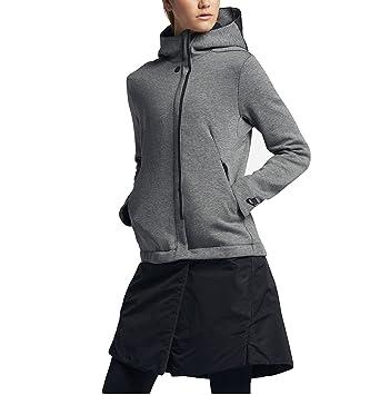 Nike W NSW TCH FLC Jkt HD Chaqueta, Mujer, Gris (Carbon ...