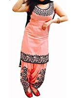 Suppar Sleave Women's A-Line Cotton Embroidered Salwar Suit Dress Material(Deep1051_Orange_Free Size)
