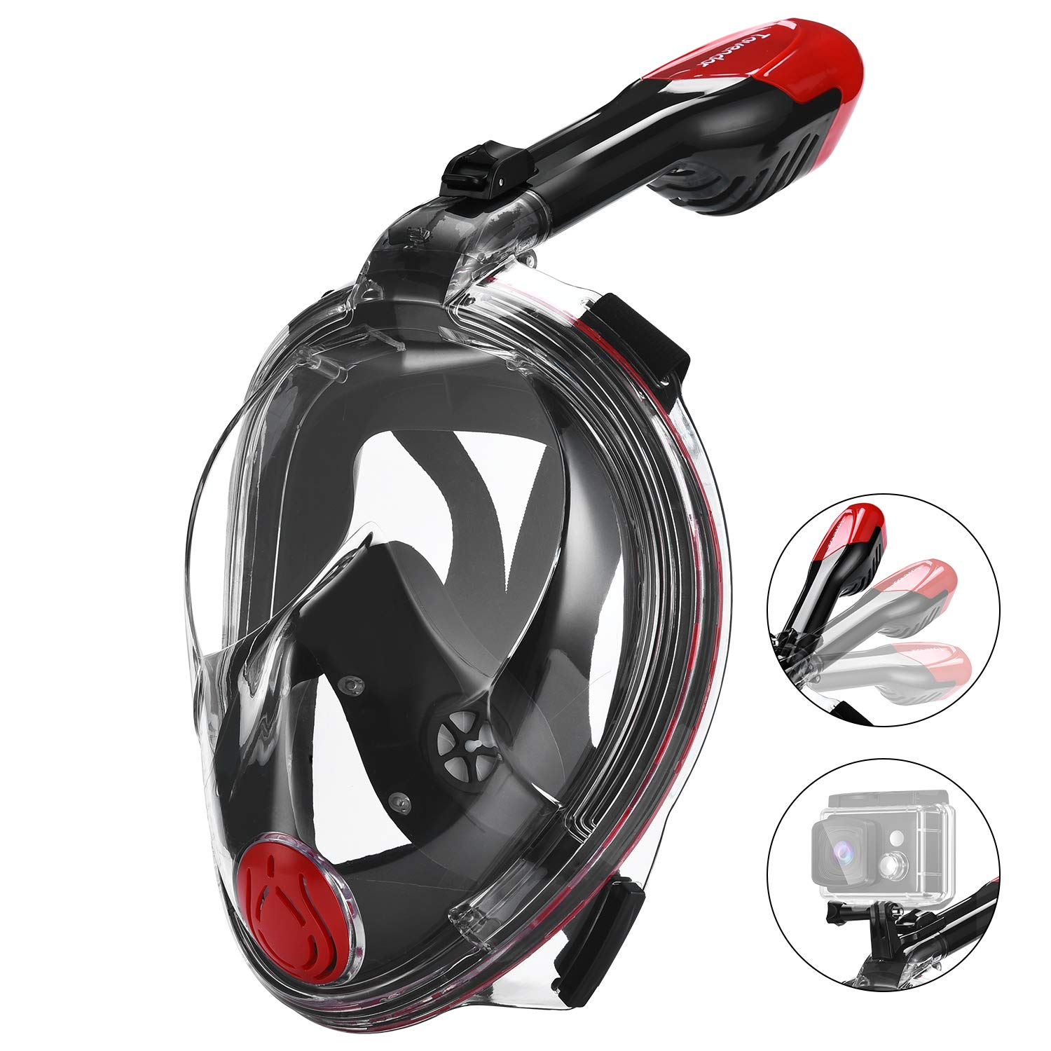 Tovendor Full Face Snorkel Mask for Adults, 180° Panoramic View Scuba Diving Mask with Detachable Mount for Gopro, Easy Breath Anti-Fog Anti-Leak (Red&Black, L/XL) by Tovendor