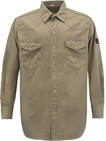 Titicaca FR Camisa de Soldador Resistente al Fuego, de algodón, para Hombre, de 7.5 onzas, Liviana, de Manga Larga, Caqui