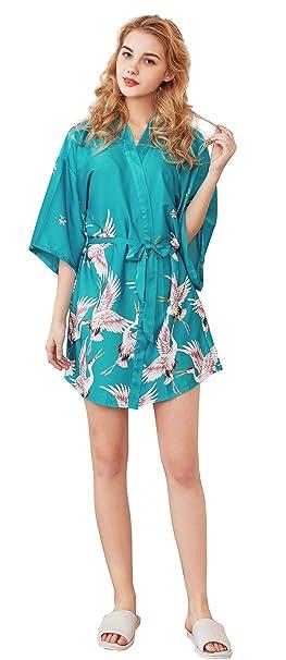 15688a1810 Cliont Pijama lencería Kimono Corto de satén de para Mujer Batas Cortos  Lenceria  Amazon.es  Ropa y accesorios