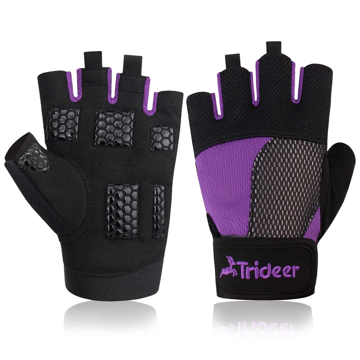 Trideer Women Weight Lifting Gloves, Breathable & Non-slip, Padded Gym Gloves For Powerlifting, Cross Training Purple M (Fits 7.1-7.5 Inches)