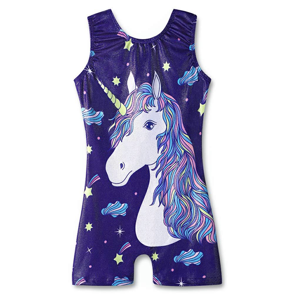 Adorable Horse 100(34 years old) Leotards for Girls Gymnastics Unicorn Athletic Dance Wear Shiny Rainbow blueee Hotpink
