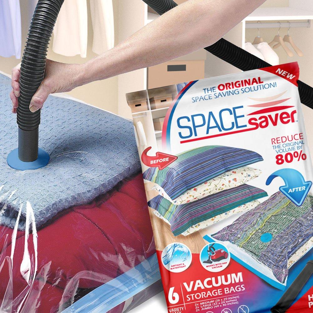 Spacesaver Premium Vacuum Storage Bags 6 Pack (2 x Medium, 2 x Large, 2 x Jumbo) Space Saver Bags, Free Hand Pump for Travel
