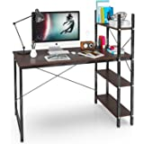 Computer Desk with Shelves, 47 Inch Writing Study Table Desk for Bedrooms, Modern Style PC Laptop Home Office Desk with Bookshelf