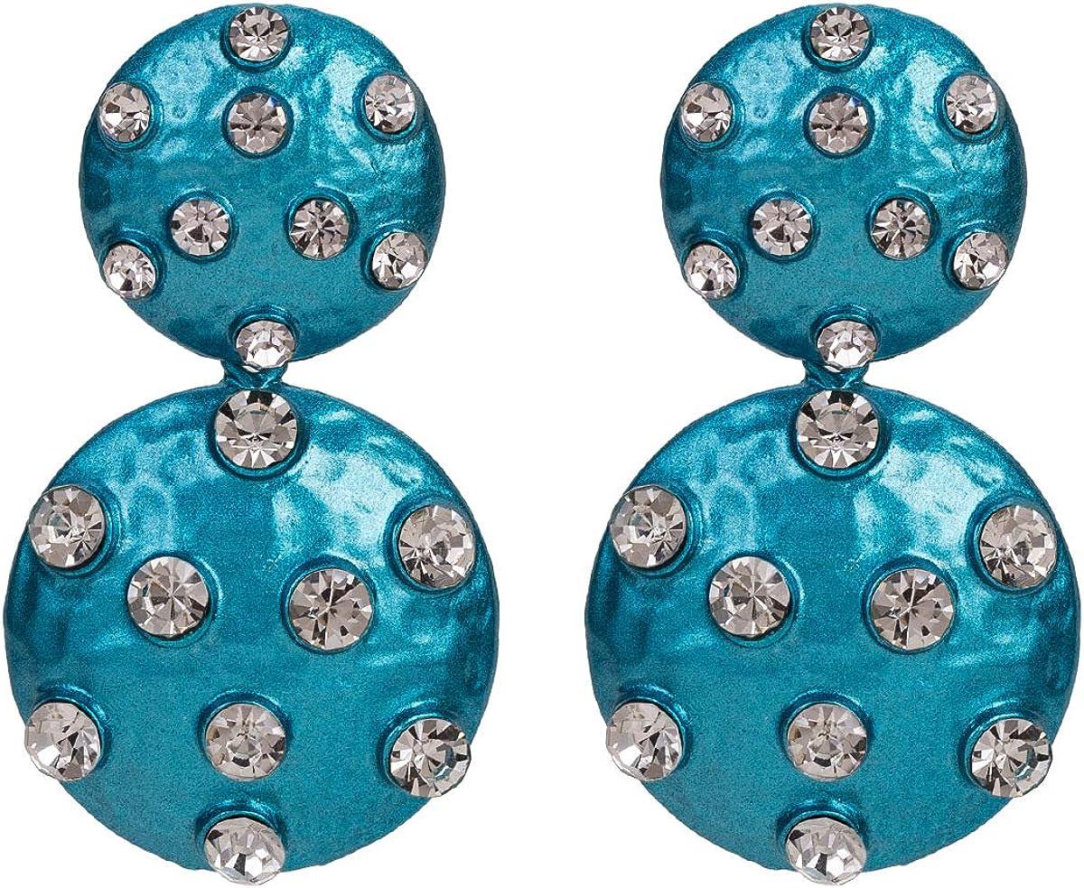 MDGWM Pendientes de Anillo de Diamantes Multicapa Americana, diseño Exquisito y Lujoso, aleación Azul