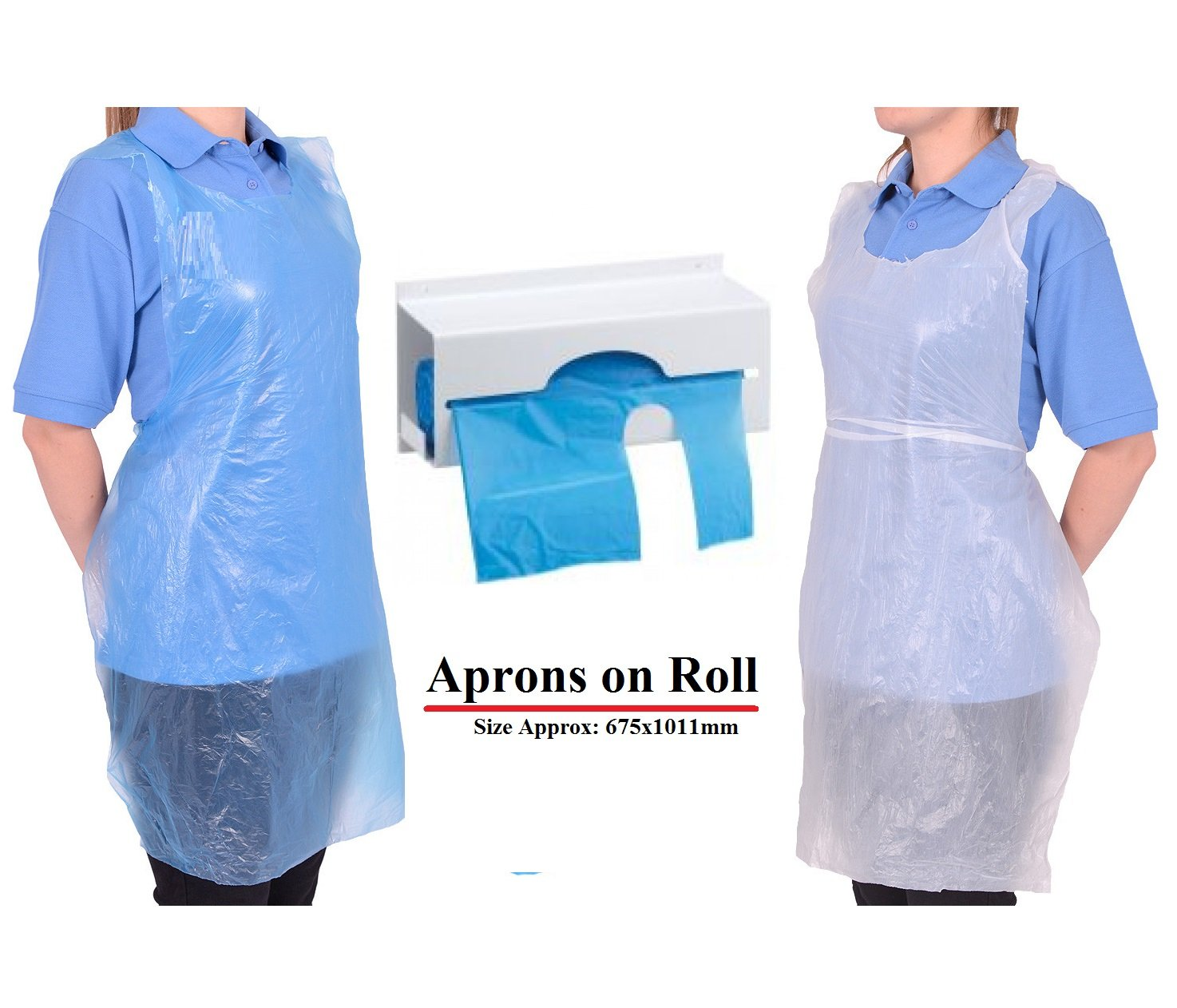 1000 Aprons, Blue Disposable Aprons on Roll White Aprons Blue Apron High Density Polythene