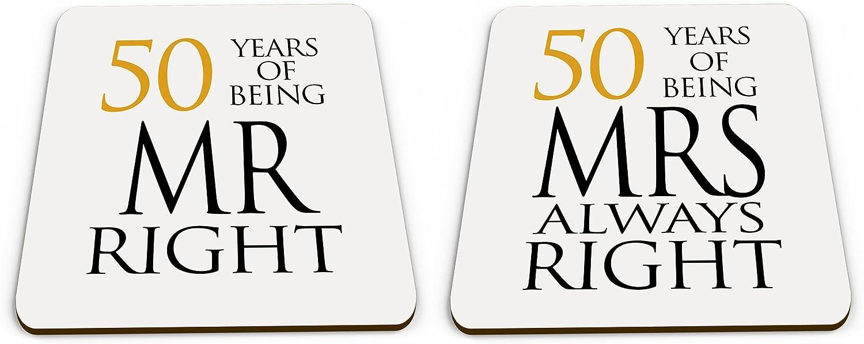 50th Golden Pair of Mr Right /& Mrs Always Right Anniversary Novelty Glossy Mug Coaster