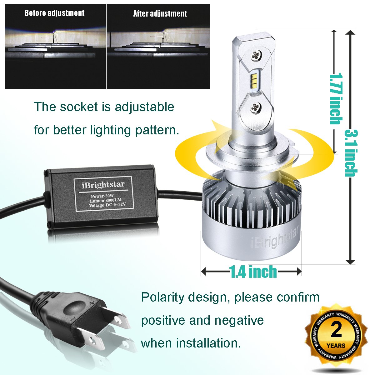 2 Yr Warranty ZES 8,000lm 6000K Cool White iBrightstar H7 LED Headlight Bulbs Conversion Kit
