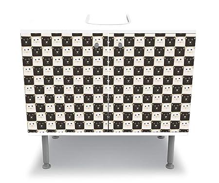 wandmotiv24 Mueble de baño Tablero de ajedrez Hecho de Gatos ...