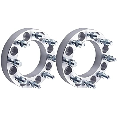 "DCVAMOUS 2pc 8 Lug 1.5"" Wheel Spacers 8x6.5/8x165.1 with 14x1.5 Studs Compatible for Chevy Silverado Express Suburban 2500 3500 