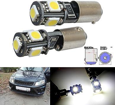 2pcs H6W BAX9s 5 SMD Xenon White LED Daytime Parking Side Light Bulbs Error Free