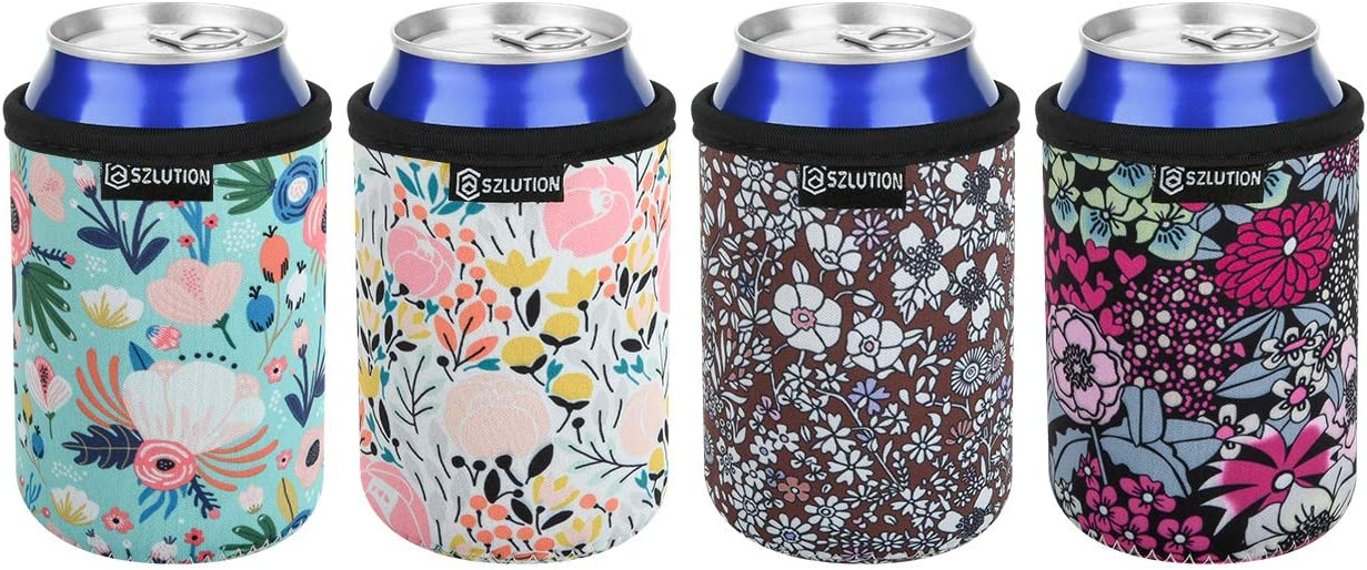 Neoprene Can Sleeves 4pcs Pack Leopard Can Insulators 12oz Standard Can Beer Cooler Coolie Skin Covers for 12 oz Standard Red Bull, Michelob Ultra, Spiked Seltzer, Truly - Great (Floral Pattern)