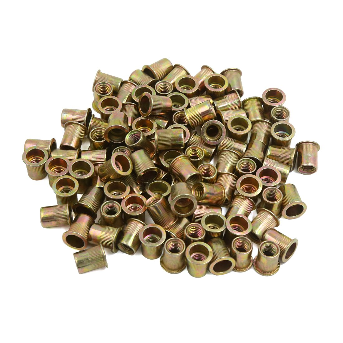 uxcell 100 Pcs 3/8-16 Bronze Tone Stainless Steel Thread Rivet Nut Insert Nutserts