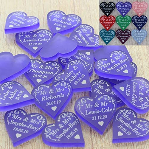 Personalised Wedding Love Hearts Favours Table Decorations Mr Mrs