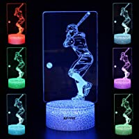 Playing Baseball Toys Visual 3D Night Light 2D Table Lamp Colorful 7 Color Touch W/USB Cable Birthday Boys Girls Kids…