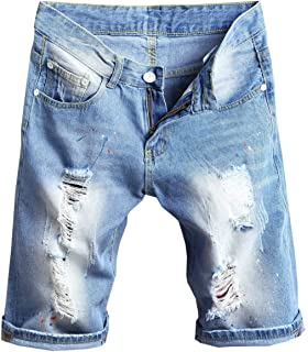 438b8bb1dfcd9 Liangpin Men s Ripped Denim Shorts Distressed Jeans Light Washed at ...