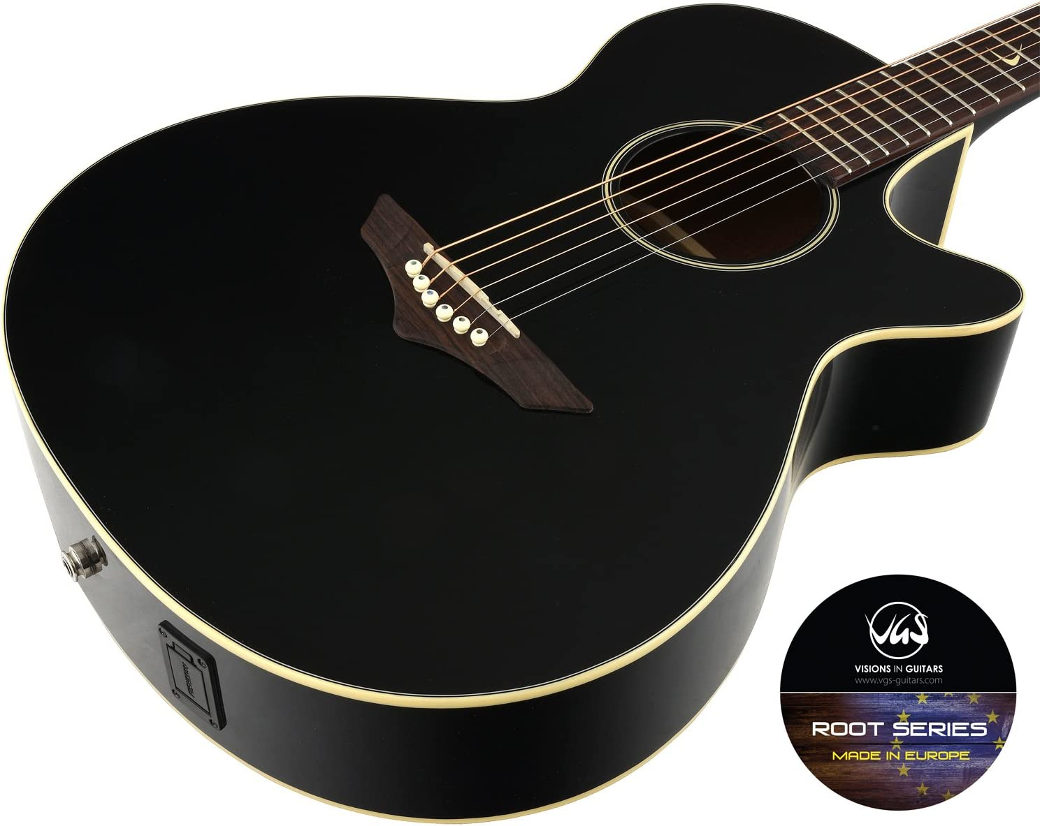 VGS RT-S Root - Guitarra acústica, color negro: Amazon.es ...