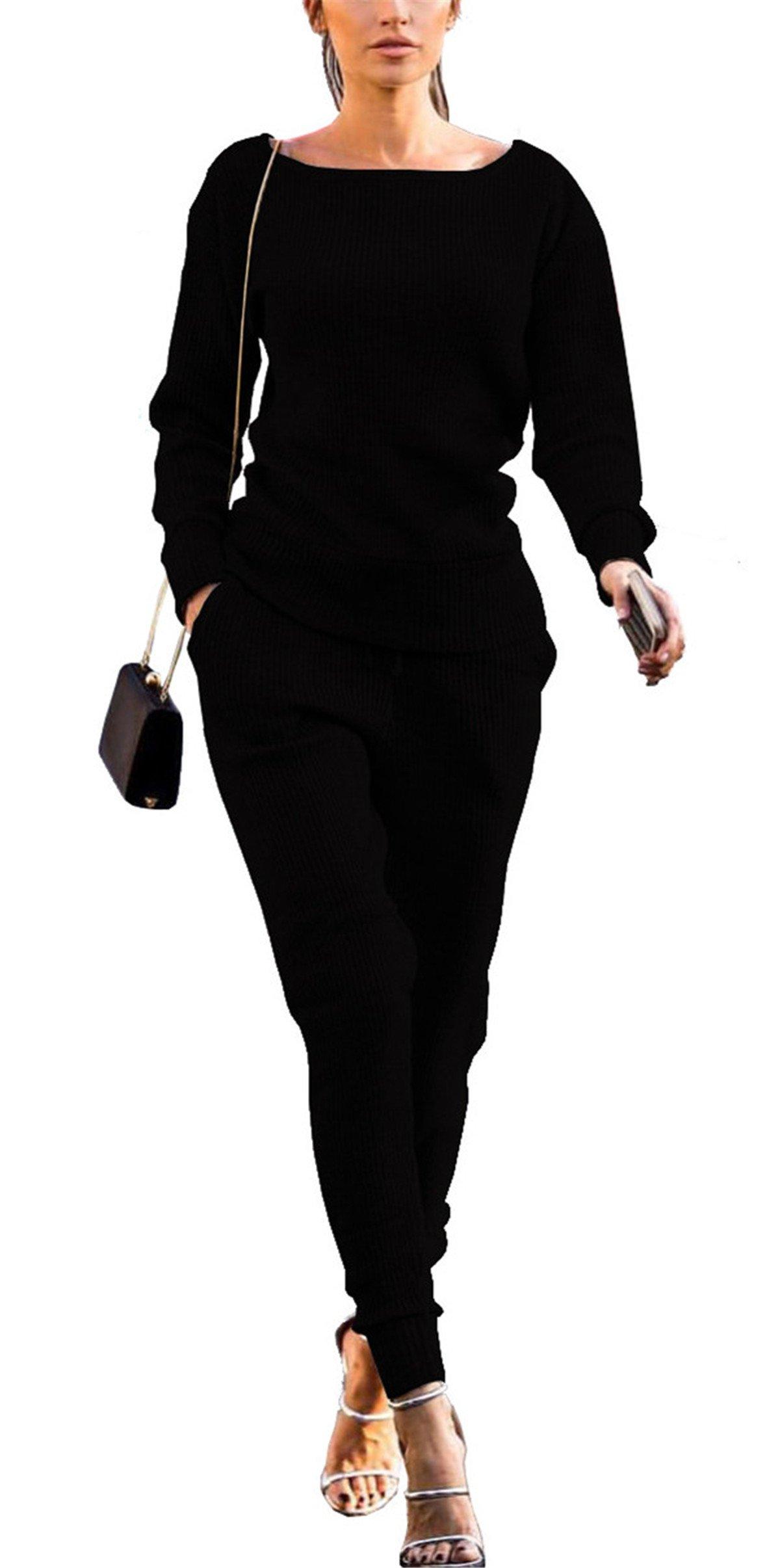 Women's Autumn Long Sleeve Slim Fit Two Pieces Outfit Set Solid Top Shirt + Pant Set Jumpsuit Dress Sports Suit Black L