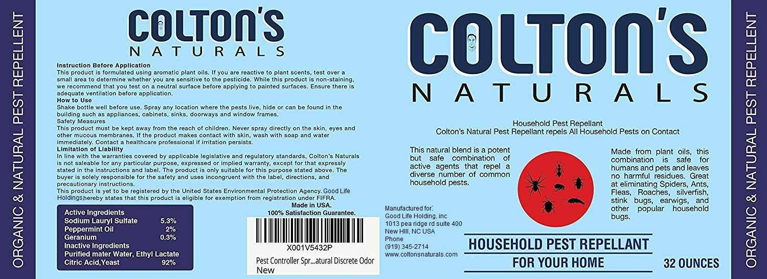 Home Pest Repellent Spray - Natural Pest Control - Useful Against House Roach, Spiders, Ants, Fleas - Fast Acting Pest Control Spray (16 Ounce) by Colton's Naturals