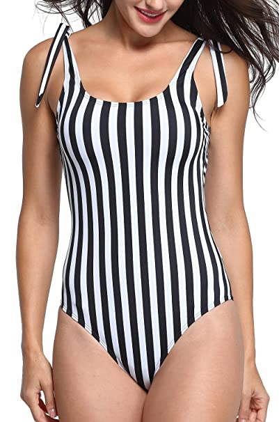 49fdb874b2 Omladi Women's One Piece Black and White Stripes Swimsuit with Adjustable  Straps