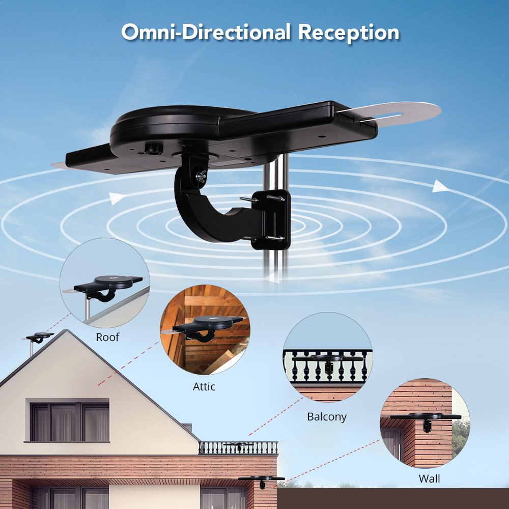 ANTV Amplified Outdoor HDTV Antenna, 360° Omni-Directional VHF/UHF Enhanced Reception Fit Indoor/Outdoor/RV/Attic Use, 70 Miles Long Range TV Antenna with 33ft High Gain coaxial Cable by ANTV (Image #6)