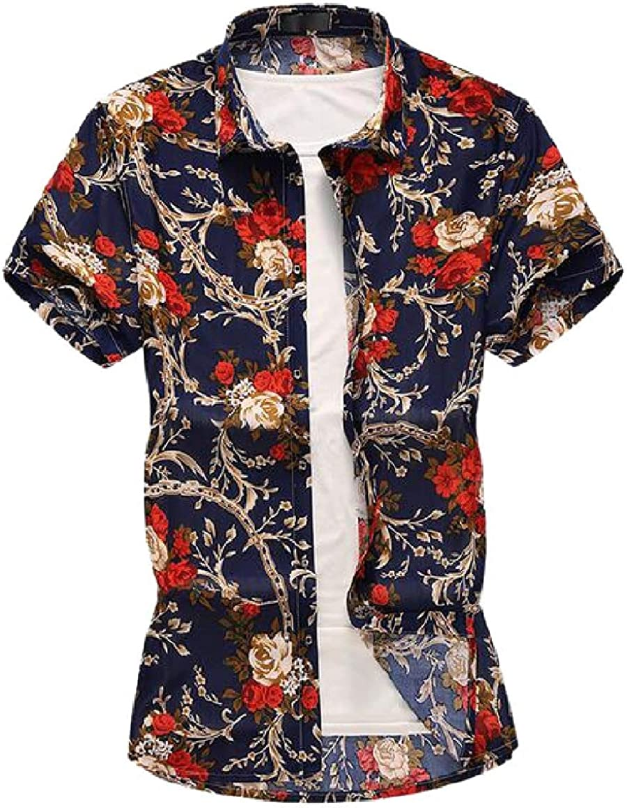 HTOOHTOOH Mens Hawaiian Shirts Floral Summer Button Down Shirts