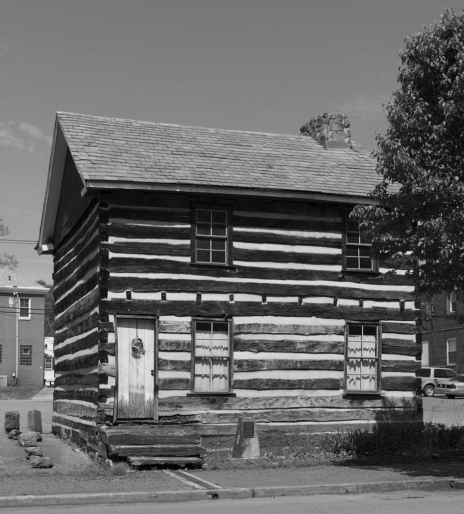 8 x 12 black white photo the wells log house built in 1788 alexander wells on washington street in buffaloe virginia now wellsburg west virginia 2015