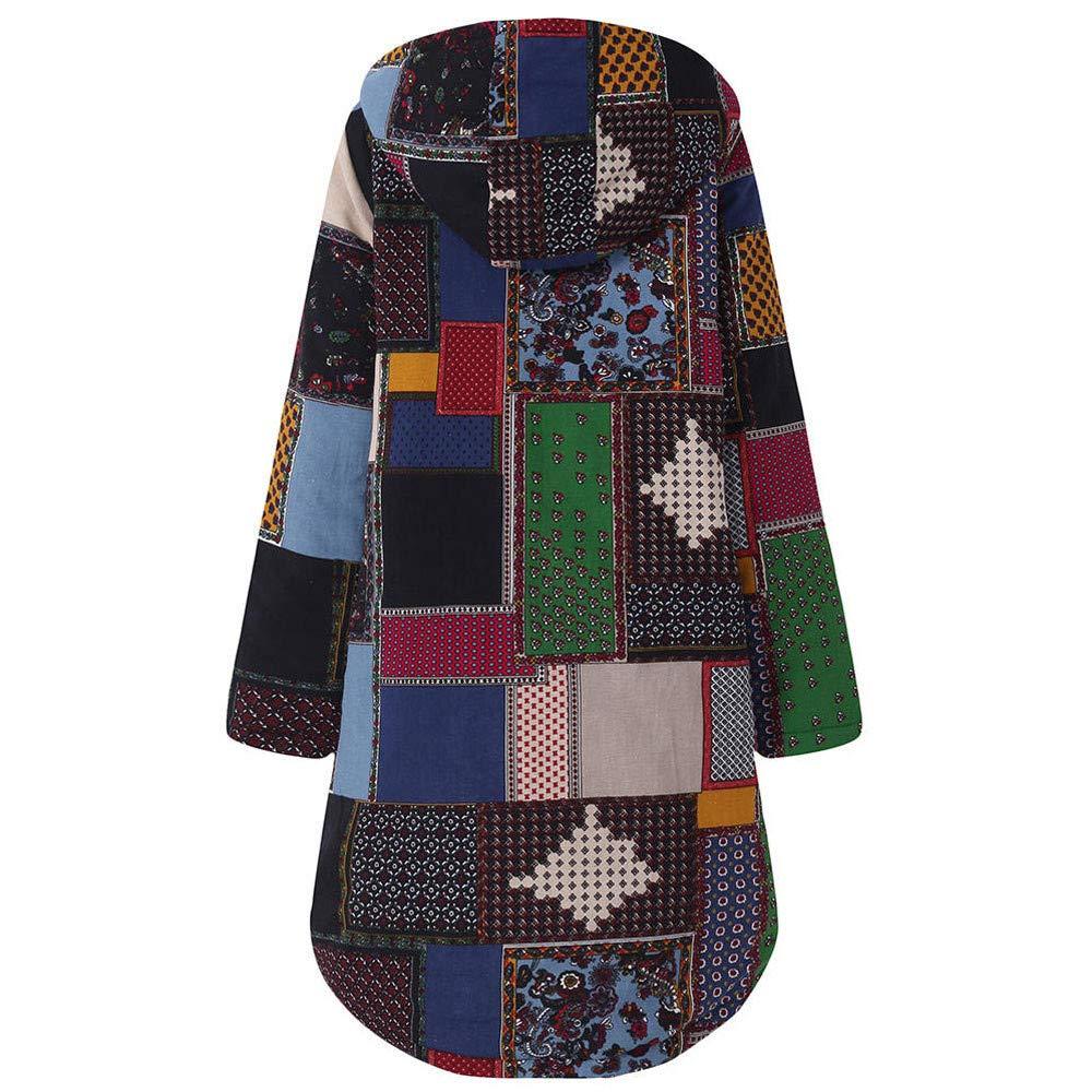 NPRADLA 2018 Fashion Women Hooded Long Sleeve Print Vintage Ladies Fleece Thicken Coats Button Long Oversize Coat