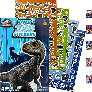 Jurassic World The Wild Sticker Book Over 200+ - Perfect for Gifts, Party Favor, Goodies, Reward, Scrapbooking, Stocking Stuffer, Children Craft, Classroom, School for Kids Girls, Boys, Toddlers
