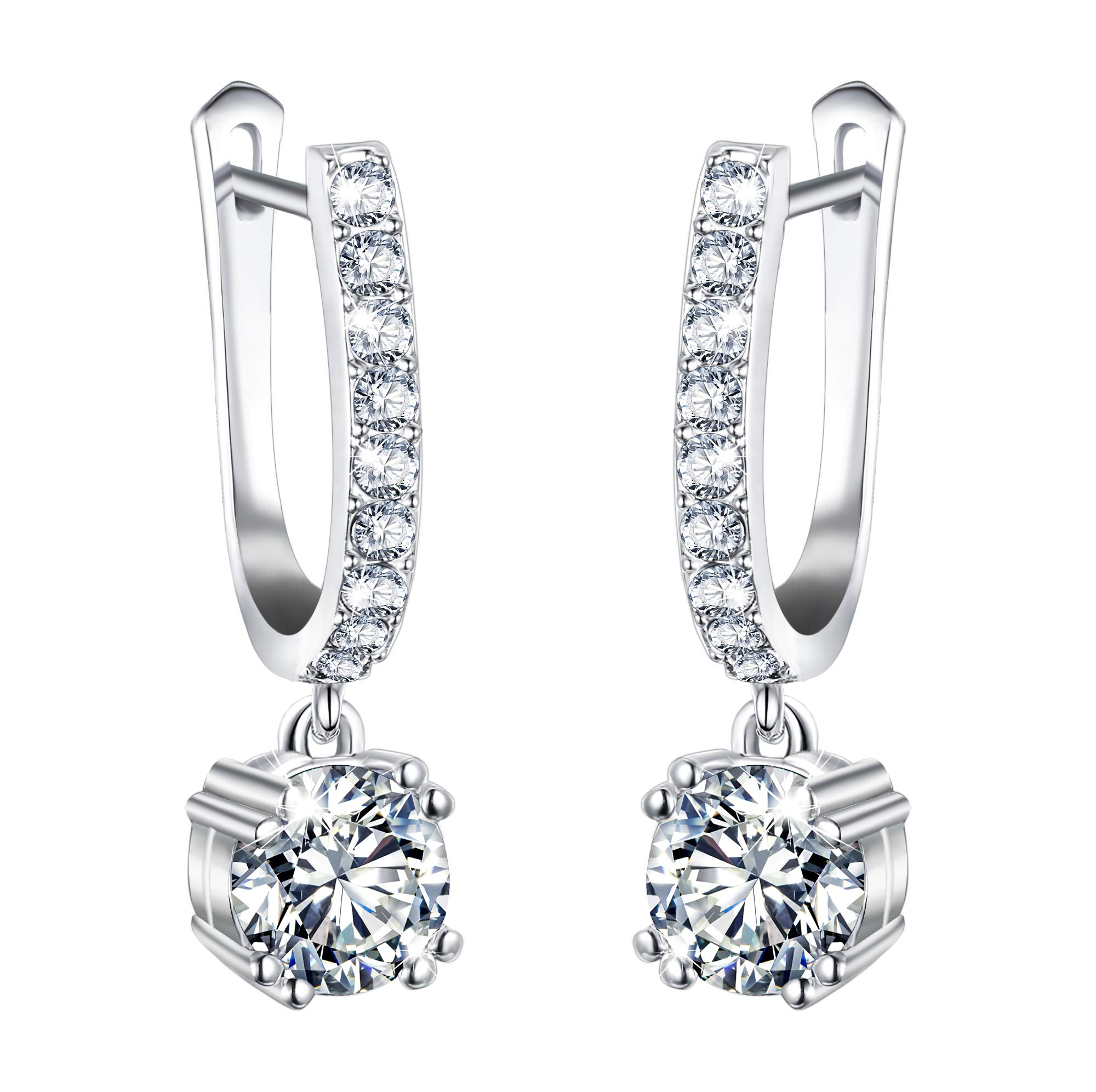 EVER FAITH Full Gorgeous Cubic Zirconia Wedding Round Drop Hoop Dangle Earrings for Brides, Bridesmaids