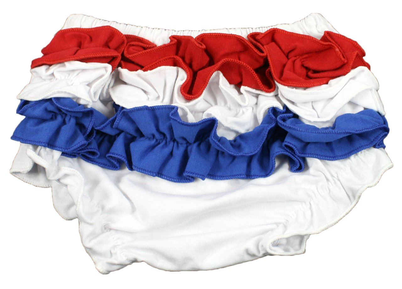 326a92acf9 Amazon.com  Girls Patriotic Red White Blue Ruffle Cotton Bloomers for Girls  and Babies Hairbows Unlimited  Baby