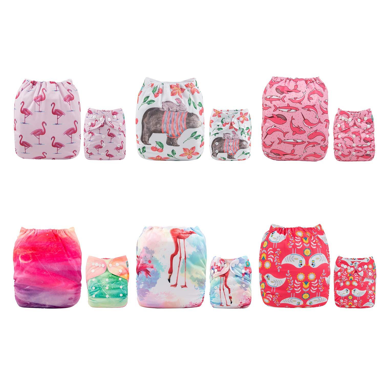 Alvababy Cloth Diaper, ein Size Adjustable Washable Reusable für Baby Girls und Boys 6 Pack mit 12 Inserts 6Dm06