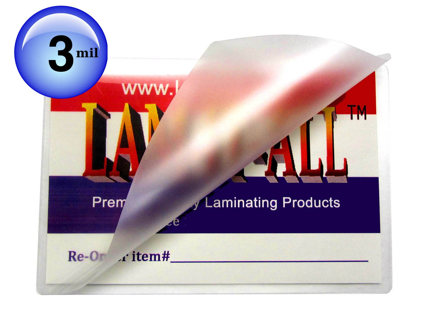 Business Card Laminating Pouches 3 Mil 2-1/4 x 3-3/4 Laminator Sleeves Qty 100 LAM-IT-ALL