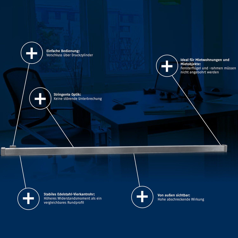 wei/ß 77195 AL0125 abschlie/ßbar stabiler Edelstahl-Riegel ABUS Fenster-Panzerriegel FPR217 sichtbarer Schutz gegen Einbr/üche 225 cm lang