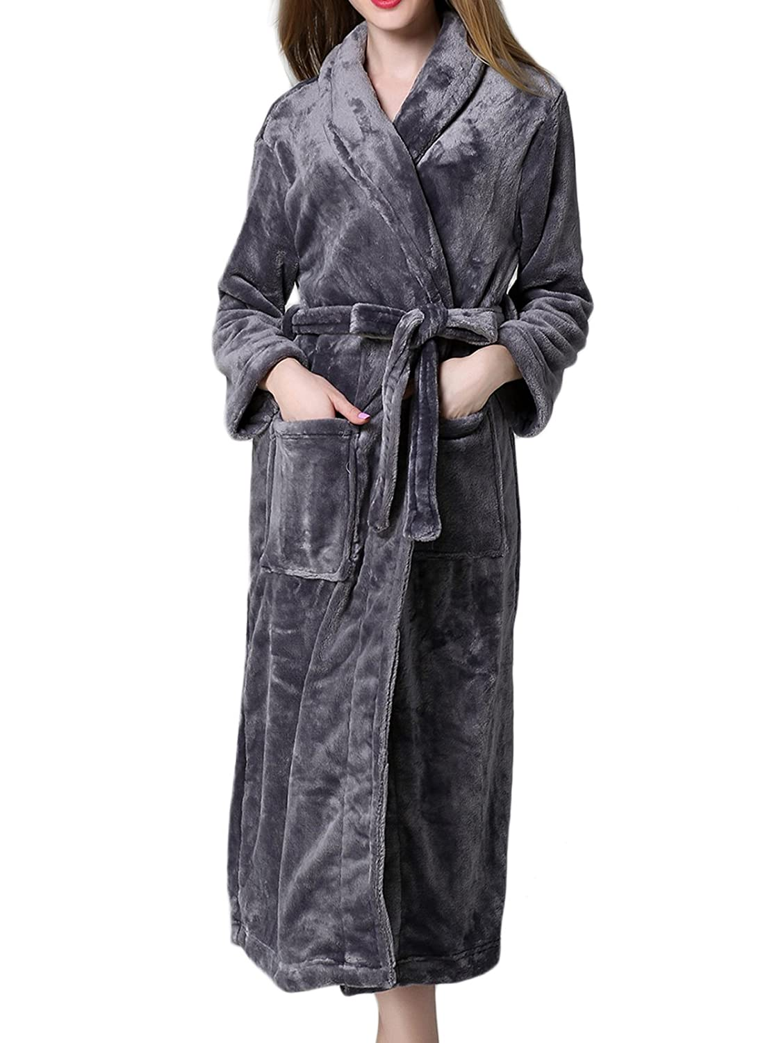 2664cadfef HENCY Women s Plush Soft Warm Fleece Bathrobe Robe Long Terry Cotton Bath  Robe - Toweling with Belt at Amazon Women s Clothing store