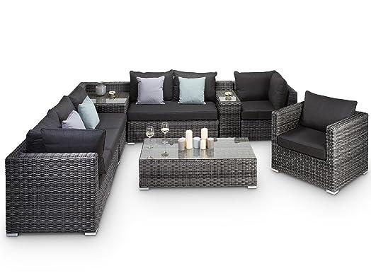 verona grey rattan modular corner sofa garden furniture fully assembled - Garden Furniture Corner Sofa