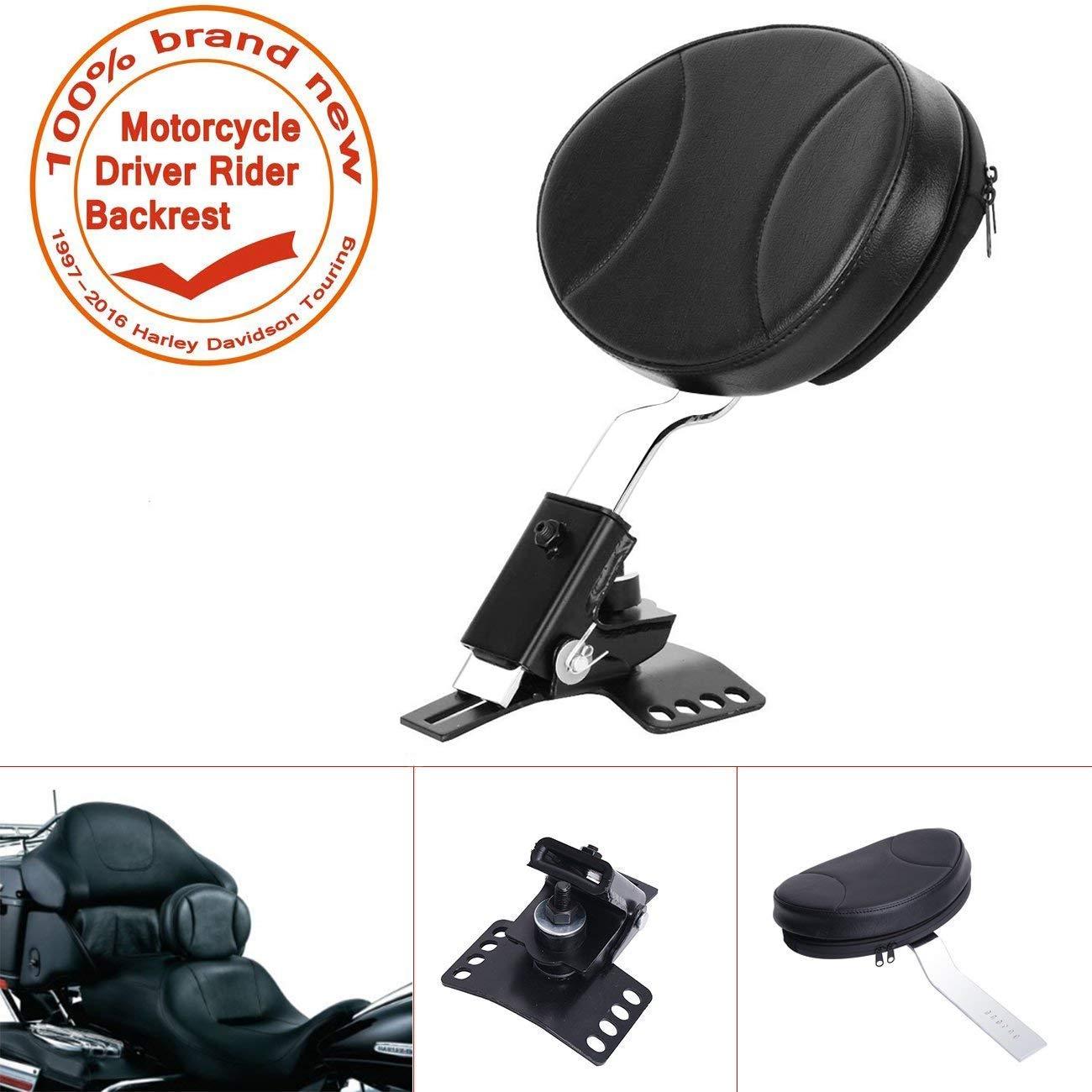 E-most Black Detachable Adjustable Driver Rider Backrest Custom Made For 1997-2016 Harley Davidson Touring Models Emost