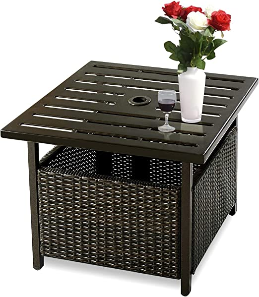 Outdoor Garden Patio Side Table Deck Coffee Round//Square Glass Top Tea Tables UK